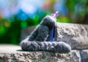 Generous Woolly Tug Felted Dog/Cat Toy in Natural Gray Gotland - DYE FREE #G54