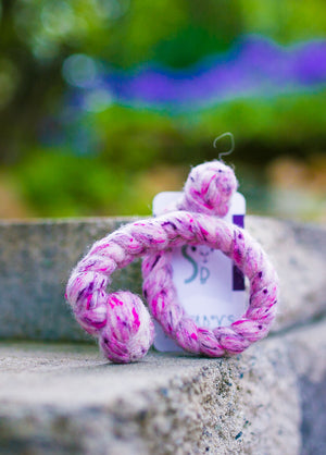 Generous Woolly Tug Felted Dog/Cat Toy in Pink Tweed #P30