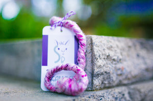 Mini Woolly Tug Felted Dog/Cat Toy in Pink Tweed #P8