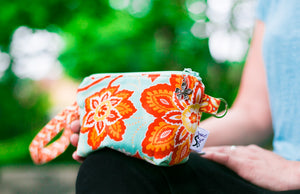 Cosmetic Bag Dog Leash Bag Wristlet Purse with Foodsafe Waterproof Lining Amber Heirloom Ornate Blooms