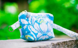 Cosmetic Bag Dog Leash Bag Wristlet Purse with Foodsafe Waterproof Lining Aqua Taza Medallion
