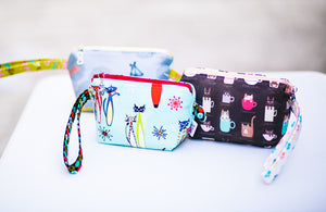 Cosmetic Bag Dog Leash Bag Wristlet Purse with Foodsafe Waterproof Lining Mid Century Modern Cat