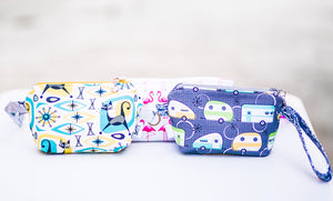 Cosmetic Bag Dog Leash Bag Wristlet Purse with Foodsafe Waterproof Lining Kokka Japan Potluck Mixed Fabric Koi Fish