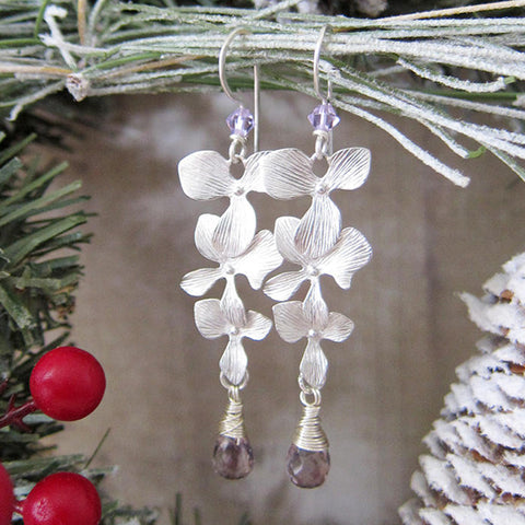LUMINOUS BLOOMS Earrings in Orchid