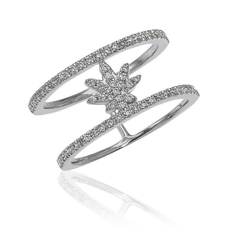 Pinky diamond happy leaf ring