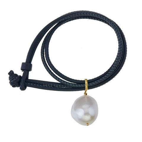 Leather bracelet with single  white pearl