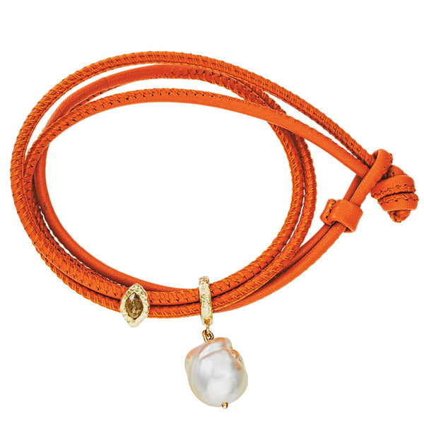 Leather Bracelet  with  diamond eye charm and  singe white pearl