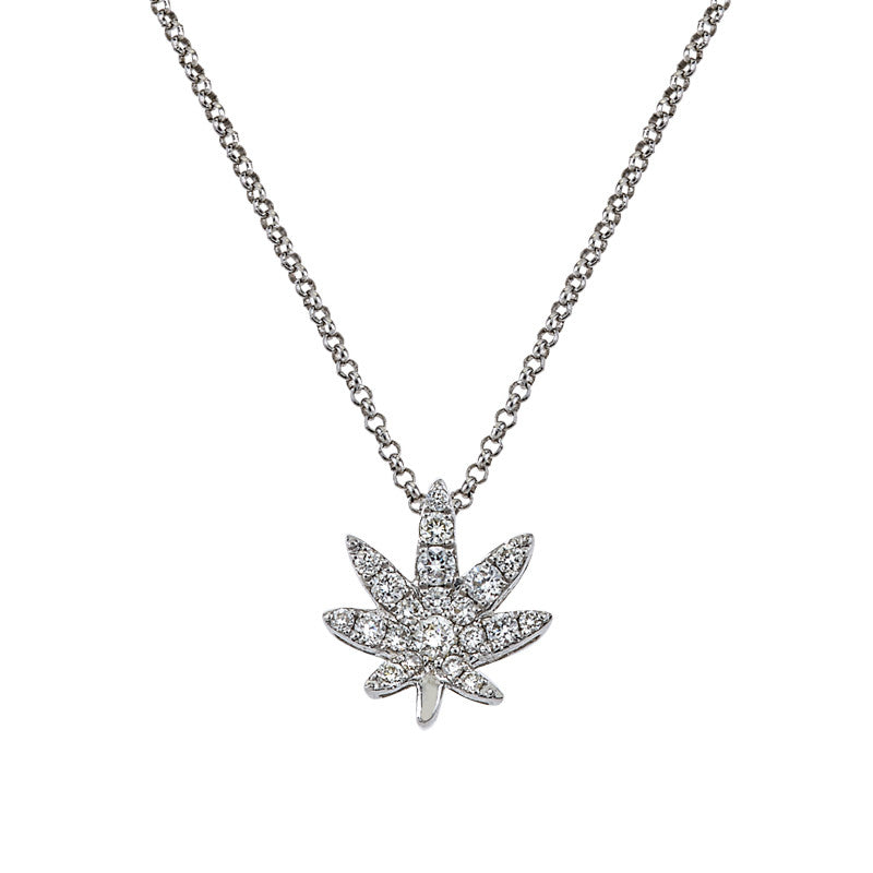 Medium diamond happy leaf necklace