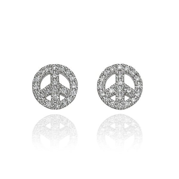 Small happy peace earrings