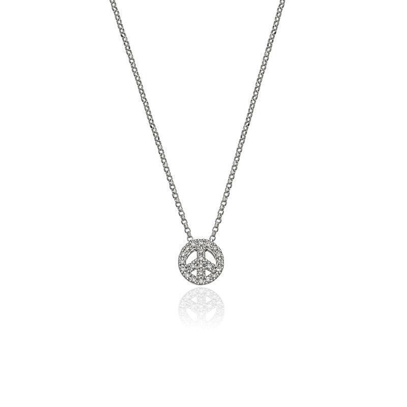 Small diamond happy peace necklace