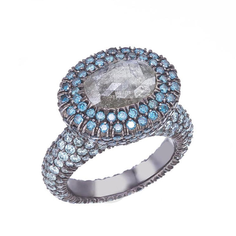 Grey diamond ring