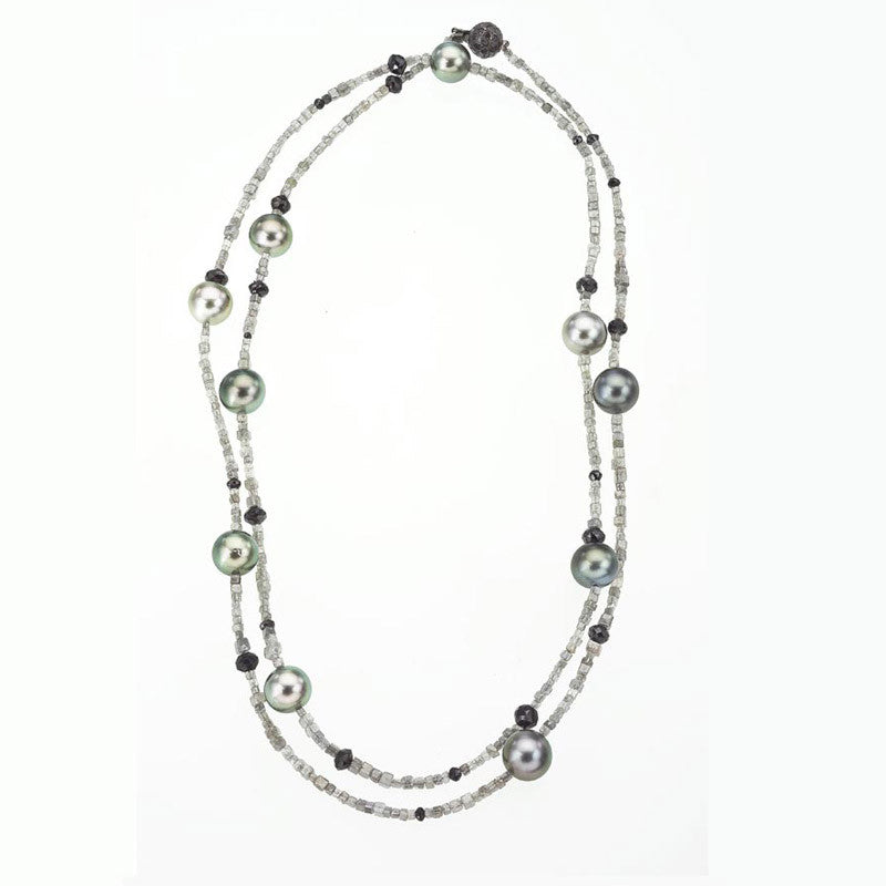 Grey diamonds long necklace
