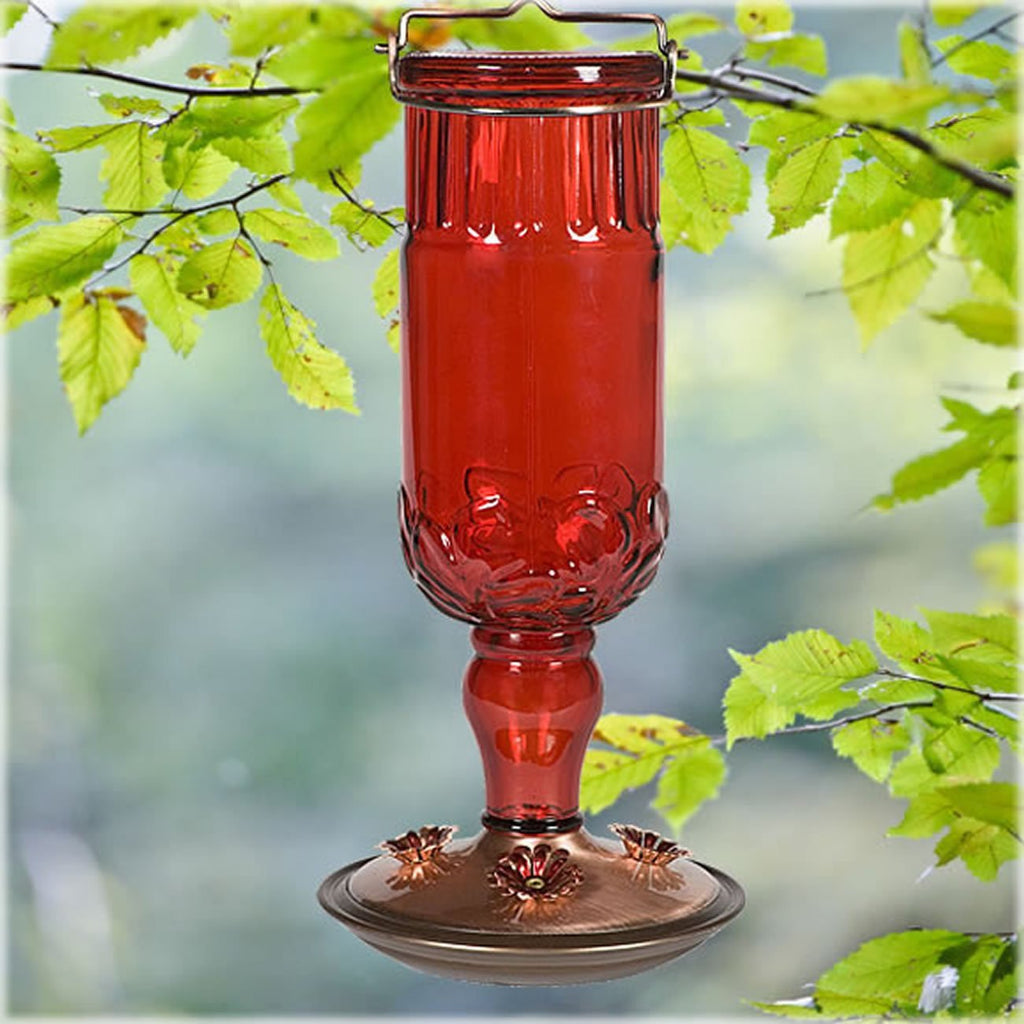 Perky Pet #8119 Red Antique Glass Hummingbird Feeder 24 oz.