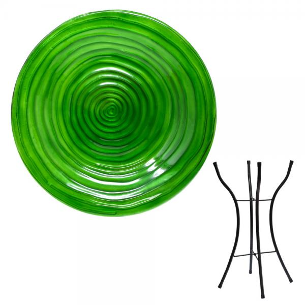 Hunter Green Glass Birdbath