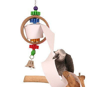 Tape Dispenser Bird Toy 14 by 5 inch - Feathered Friends of Santa Fe (www.ffofsf.com)