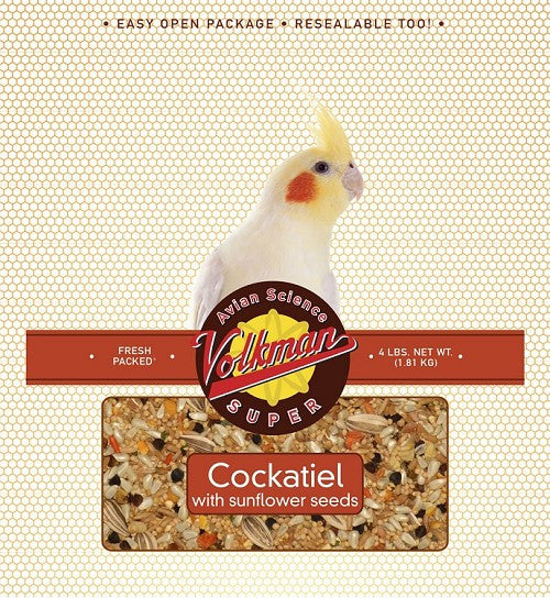 Avian Science Super Cockatiel Bird Seed w/ Sunflower Seeds 4 lb (1.81 kg) - Feathered Friends of Santa Fe (www.ffofsf.com)