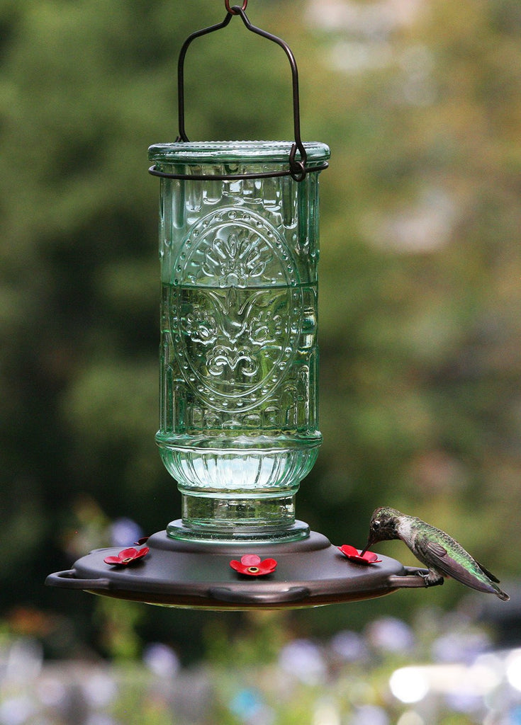 Vintage Glass Hummingbird Feeder 20 oz - Feathered Friends of Santa Fe (www.ffofsf.com)