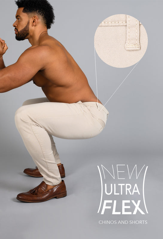 ultra flexible chinos and short for bodybuilders