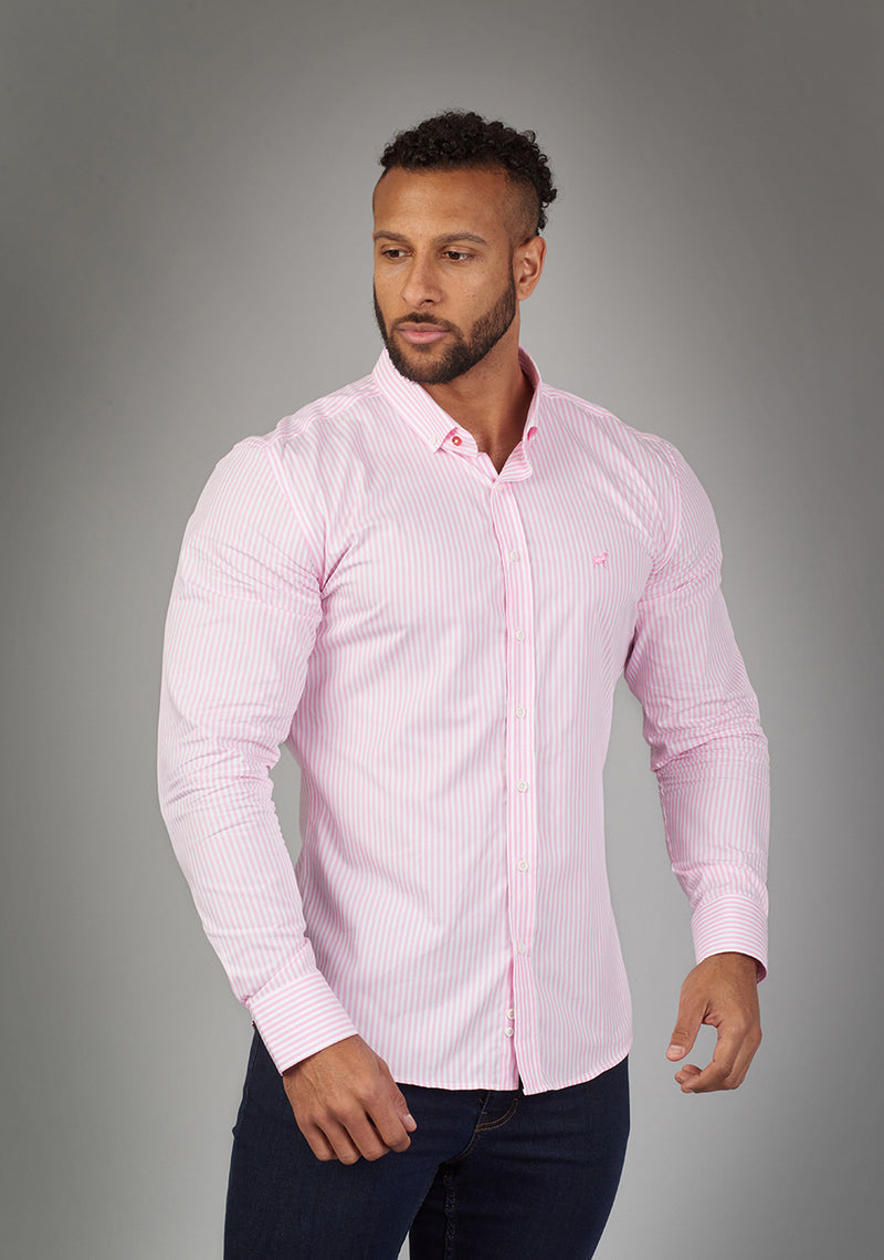 pink orchid muscle fit shirt for bodybuilders and athletes front