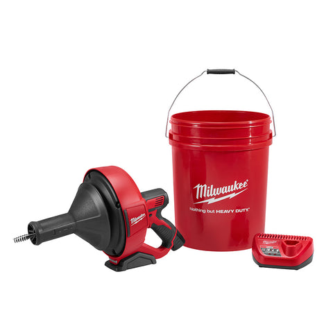 "Milwaukee 2571-21 M12 Drain Snake Kit with 5/16"" x 25' Bulb Cable and Storage Bucket"