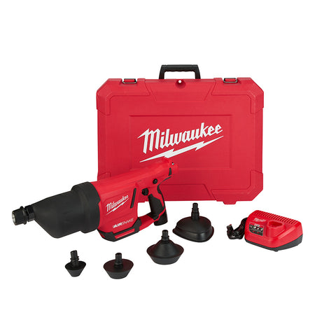 "Milwaukee 2572A-21 M12 AIRSNAKE Drain Cleaning Air Gun Kit-A, 1"" - 4"" Capacity"
