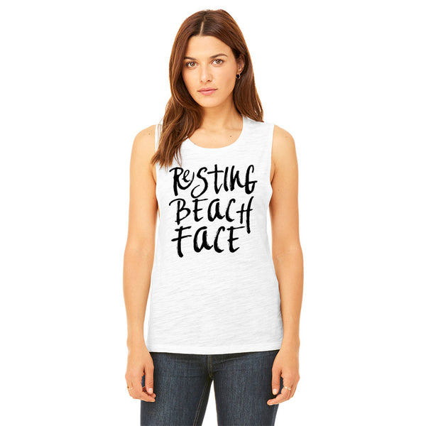 Resting Beach Face Womens Muscle Tank