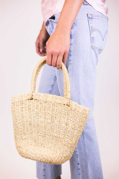 Vintage Straw French Market Tote Bag
