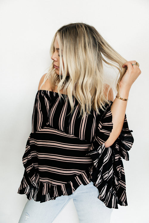 striped belle sleeve blouse