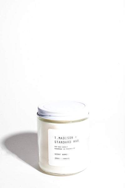 T. Madison x Standard Wax : Amber + Tobacco Soy Candle