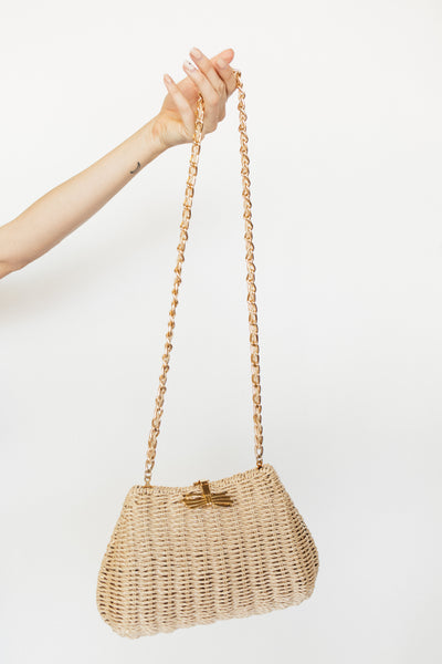 Wicker Purse with Gold Bow Clasp