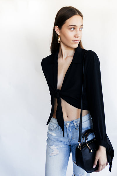 black front tie top
