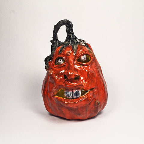 Awesome Halloween Pumpkin Ceramic Jack o' lantern, Cool Expression!