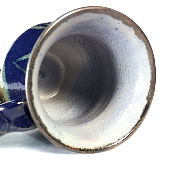 Artistic Ceramic Mug in Deep Blue and Gold