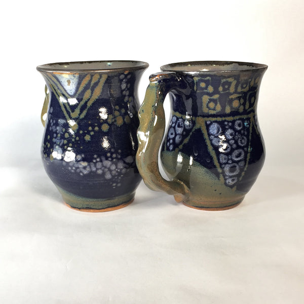 Designer Blue and Gold Mug Set