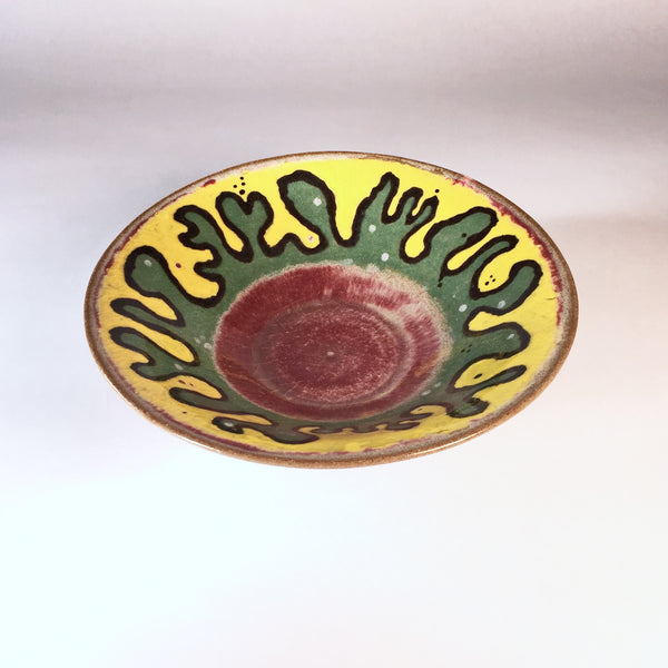 Fun & Colorful Handmade Ceramic Bowl. Yellow/Green/Red Doodle Design!