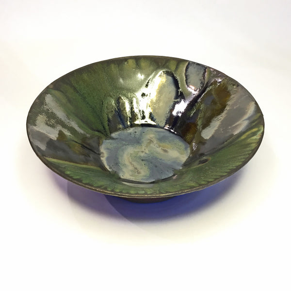 Stunning Ceramic Bowl/Awesome Metallic Finish/Molten Glaze Effects!