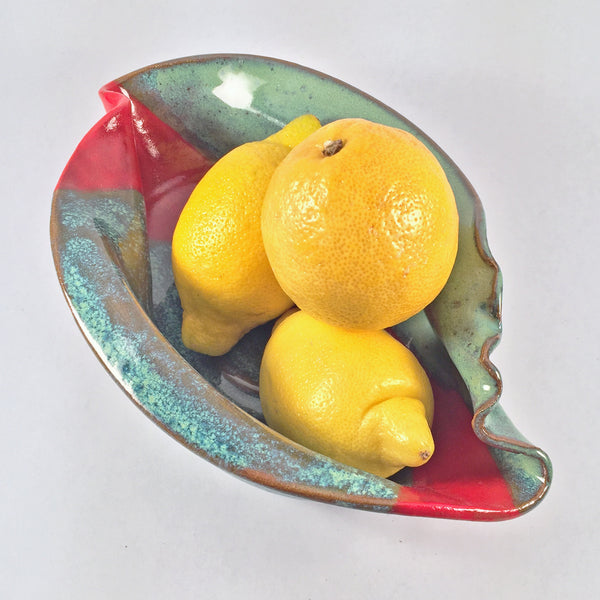 Exquisite Red Banded Ceramic Nautilus Bowl/Unique for Holiday Serving!