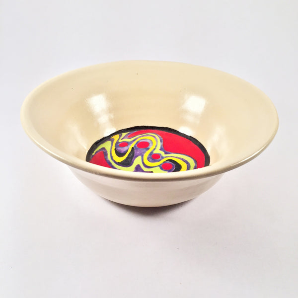 Rainbow Doodle Bowl-Satin White with Color Explosion! Eclectic Collection!