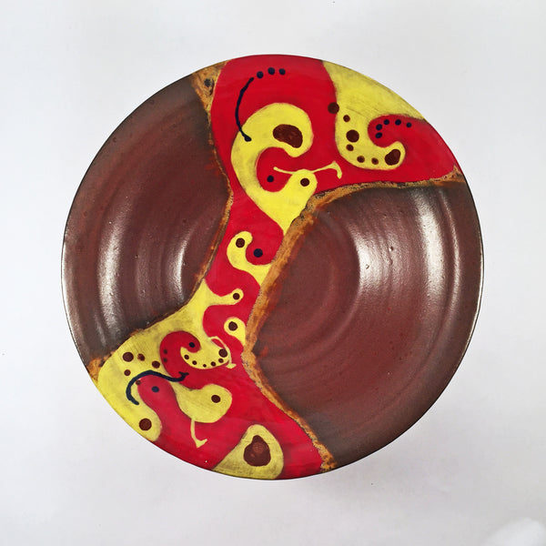 Colorful & Fun Ceramic Bowl with Red & Yellow Hand-painted Design!