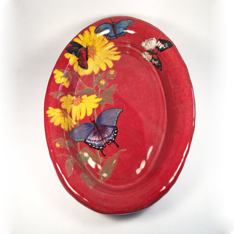 Handcrafted Hand Painted Red Serving Platter with Vibrant Butterflies!