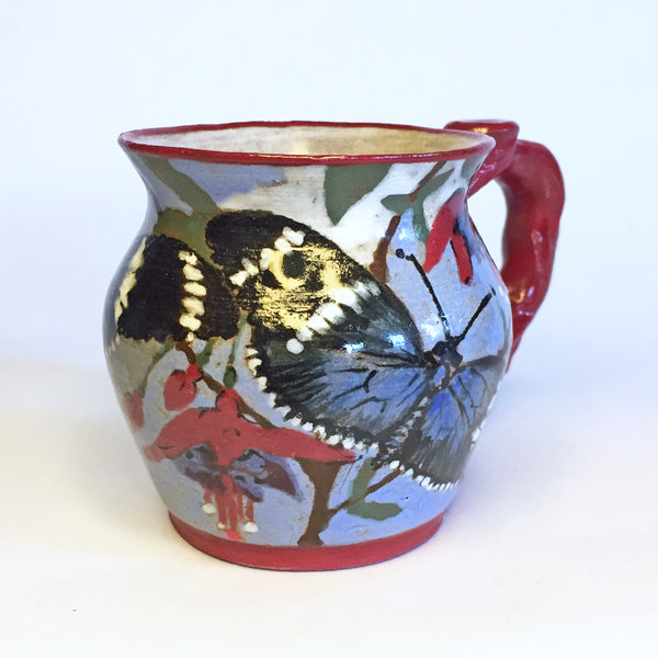 Stunning Little Teacup With Hand-painted Butterflies/Fuchsia Flowers!
