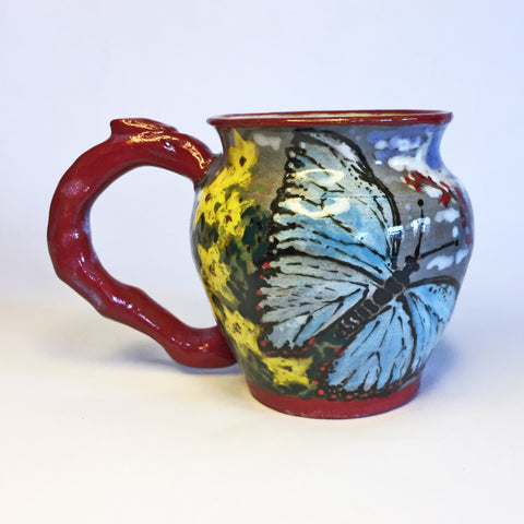 Unique Teacup with Hand-painted Butterflies in Delightful Detail!