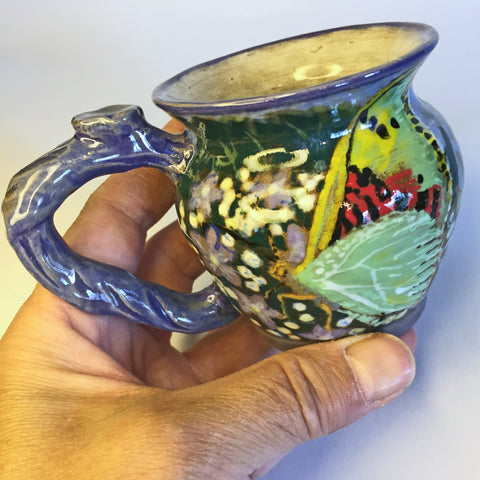 Designer Teacup/Lovely Hand-painted Butterfly, Bamboo, Floral Design!