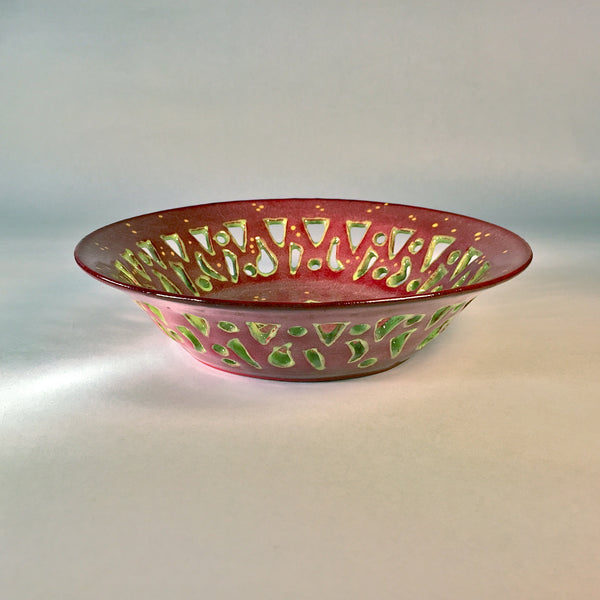 Delightful Hand-carved, Hand-painted Ceramic Bowl in Red & Chartreuse!