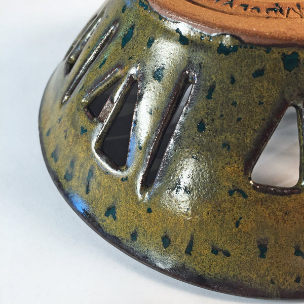 "Hand-carved Ceramic Bowl ""Emerald Gold"" Discounted As Is!"