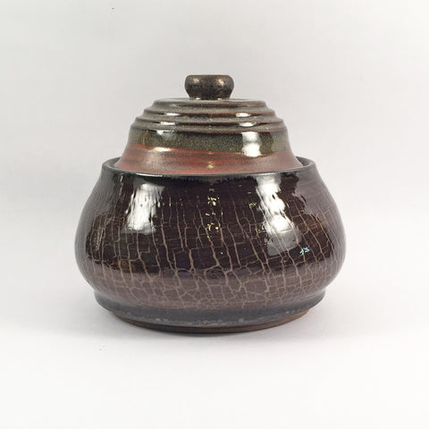 "Ceramic Casserole ""Crackled Earth""-Beautifully Crafted Pot in Textural, Earthy Colors!"