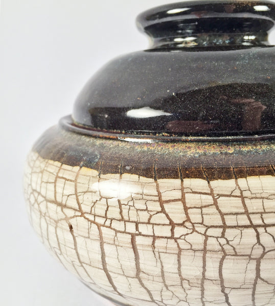 UNIQUE ELEGANT Lidded Pot, CRACKLED GLAZE TEXTURE & Glossy Brown Lid!