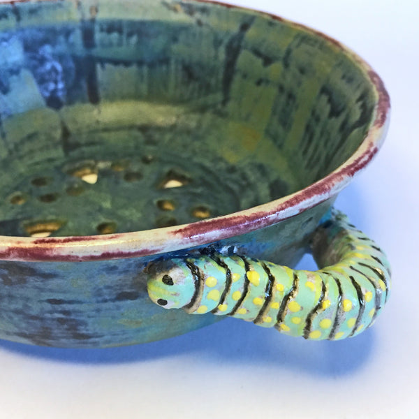 Perfect berry bowl colander with HANDPAINTED caterpillars crawling!