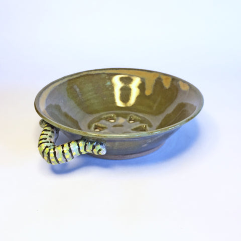 "Caterpillar Handles Crawl on this Berry Bowl ""Lime Satin"""