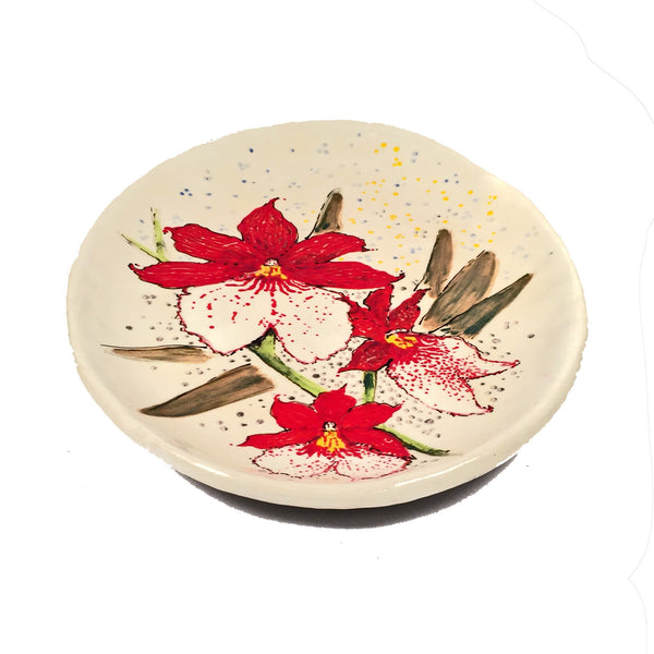 Vibrantly Hand Painted Cattleya Orchid Plate! Ornamental & Functional!